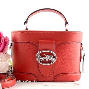 NWT COACH ❤️ Georgie Gem Red Pebble Leather Top Handle Crossbody Bag
